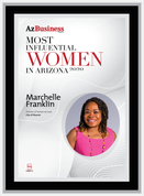 "AZ Business  magazine 2020 Most Influential Women Wood Frame Plaque Style A - Black with Silver Trim with photo Size is 11"" x 15.75"" Please state the name of Most Influential Women in the Comment Box at check-out"