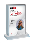"AZRE magazine 2020 Most Influential Women Desktop Marquee Acrylic Plaque Style C  with photo Size is 6"" X 9""  If you select ""Include Image on File,"" it will be the same as the photo that appears in the July/August 2020 issue of magazine.  If you would like a different photo, please indicate that in the ""order instructions/comments (optional)"" box at checkout.  Please email a high resolution PDF of the photo you would on the plaque to Sara.Fregapane@azbigmedia.com or contact Sara at (602) 277-6045."