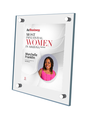"AZ Business magazine 2020 Most Influential Women Acrylic Stand-off Wall Plaque Style B with photo Size is 11"" x 16.5""  If you select ""Include Image on File,"" it will be the same as the photo that appears in the July/August 2020 issue of magazine.  If you would like a different photo, please indicate that in the ""order instructions/comments (optional)"" box at checkout.  Please email a high resolution PDF of the photo you would on the plaque to Sara.Fregapane@azbigmedia.com or contact Sara at (602) 277-6045."