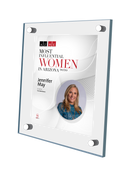 "AZ/RE magazine 2020 Most Influential Women Acrylic Stand-off Wall Plaque Style B with photo Size is 11"" x 16.5""  If you select ""Include Image on File,"" it will be the same as the photo that appears in the July/August 2020 issue of magazine.  If you would like a different photo, please indicate that in the ""order instructions/comments (optional)"" box at checkout.  Please email a high resolution PDF of the photo you would on the plaque to Sara.Fregapane@azbigmedia.com or contact Sara at (602) 277-6045."