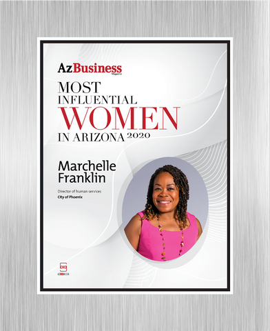 "AZ Business magazine 2020 Most Influential Women Brushed Silver Stand-off Wall Plaque Style D with photo Size is 11"" x 16.5""  If you select ""Include Image on File,"" it will be the same as the photo that appears in the July/August 2020 issue of magazine.  If you would like a different photo, please indicate that in the ""order instructions/comments (optional)"" box at checkout.  Please email a high resolution PDF of the photo you would on the plaque to Sara.Fregapane@azbigmedia.com or contact Sara at (602) 277-6045."