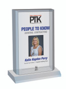Style C People to Know 2021 (PTK) plaque - Acrylic Desktop Marquee Plaque. The image on this plaque is the same image as in the magazine. If you prefer no image, please indicate same in the Comment Box at sale completion.