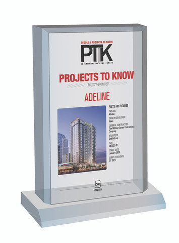 Style C Projects to Know 2021 (PTK) plaque - Acrylic Desktop Marquee Plaque.  The image on this plaque is the same as what is in the magazine.  If you are a subcontractor and would like your company name displayed, please contact Sara Fregapane @ (602) 277-6045 or indicate same in the Comment Box at sale completion.