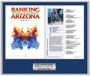 Style A Blue with Silver Trim Ranking Az 2021 plaque.  Plate includes: Company Name, Ranked #1 and Category.  If customization is preferred on the plate, please include three lines of text in the general instructions/comment box or contact Sara Fregapane at (602) 277-6045.   (plate color matches trim color)