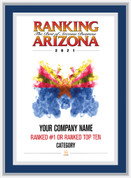 Blue with Silver Trim Style D Ranking Az 2021 Plaque. Cover of Ranking magazine.  Plaque includes: Company Name, Ranked #1 or Ranked Top Ten and Category.  If customization is preferred on the plate, please include three lines of text in the general instructions/ comment box or contact Sara Fregapane at (602) 277-6045.