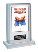 "Acrylic Desk-top Style F Ranking Az 2021 Plaque. Cover of Ranking magazine.  (Plaque Size 6"" X 9"") Plaque includes: Company Name, Ranked #1 or Ranked Top Ten and Category.  If customization is preferred on the plate, please include three lines of text in the general instructions/ comment box or contact Sara Fregapane at (602) 277-6045."