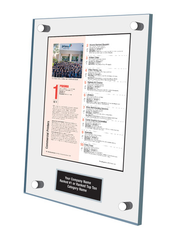 Acrylic Wall Stand-off Style E Ranking Az 2021 Plaque. Actual Page from  Ranking magazine.  Plaque includes: Company Name, Ranked #1 or Ranked Top Ten and Category.  If customization is preferred on the plate, please include three lines of text in the general instructions/ comment box or contact Sara Fregapane at (602) 277-6045.