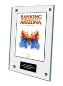 Acrylic Wall Stand-off Style E Ranking Az 2021 Plaque. Cover of Ranking magazine.  Plaque includes: Company Name, Ranked #1 or Ranked Top Ten and Category.  If customization is preferred on the plate, please include three lines of text in the general instructions/ comment box or contact Sara Fregapane at (602) 277-6045.