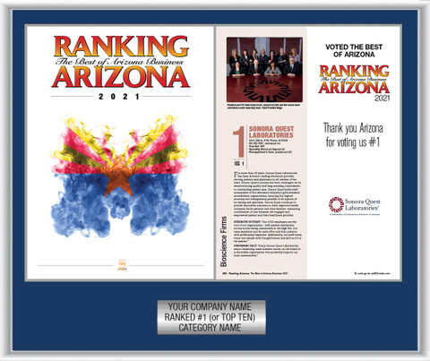 Style B Navy Blue with Silver Trim Ranking Az 2021 plaque.  Plate includes: Company Name, Ranked #1 and Category.  If customization is preferred on the plate, please include three lines of text in the general instructions/comment box or contact Sara Fregapane at (602) 277-6045  (plate color matches trim color)