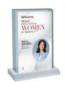 """AZ Business magazine 2021 Most Influential Women Desktop Marquee Acrylic Plaque Style C  with photo Size is 6"""" X 9""""  If you select """"Include Image on File,"""" it will be the same as the photo that appears in the July/August 2021 issue of magazine.  If you would like a different photo, please indicate that in the """"order instructions/comments (optional)"""" box at checkout.  Please email a high resolution PDF of the photo you would on the plaque to Sara.Fregapane@azbigmedia.com or contact Sara at (602) 277-6045."""