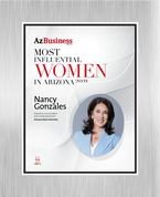 """AZ Business magazine 2021 Most Influential Women Brushed Silver Stand-off Wall Plaque Style D with photo Size is 11"""" x 16.5""""  If you select """"Include Image on File,"""" it will be the same as the photo that appears in the July/August 2021 issue of magazine.  If you would like a different photo, please indicate that in the """"order instructions/comments (optional)"""" box at checkout.  Please email a high resolution PDF of the photo you would on the plaque to Sara.Fregapane@azbigmedia.com or contact Sara at (602) 277-6045."""
