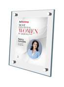 """AZ Business magazine 2021 Most Influential Women Acrylic Stand-off Wall Plaque Style B with photo Size is 11"""" x 16.5""""  If you select """"Include Image on File,"""" it will be the same as the photo that appears in the July/August 2021 issue of magazine.  If you would like a different photo, please indicate that in the """"order instructions/comments (optional)"""" box at checkout.  Please email a high resolution PDF of the photo you would on the plaque to Sara.Fregapane@azbigmedia.com or contact Sara at (602) 277-6045."""