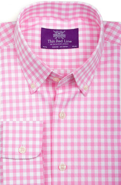 Oxford Pink Gingham Check (Semi-fitted)