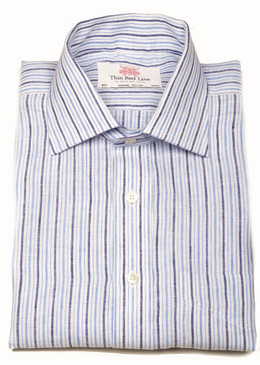 Linen Blue Navy Stripes (Regular Fit)
