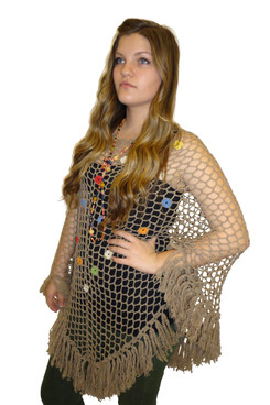 Crocheted Mesh Poncho