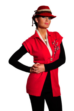 Embroidered red vest
