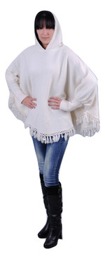 Hooded sweater poncho