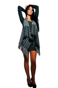Striped fringe vest