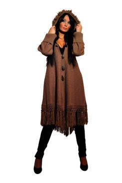 Hooded Fringe Poncho