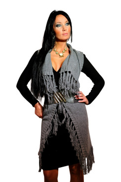 Long Fringed Knit Vest