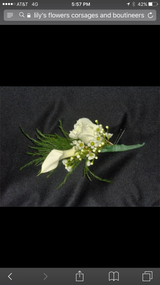 Rose and Calla Lily accented with greens - PICKUP ONLY!  Please note any color preferences and pickup time in notes.