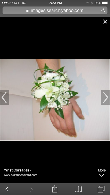 """Orchids and Greens on elastic wristband.  PICKUP ONLY!  Please note colors and PIckup time in notes section. To add bracelet type band, select """"Premium"""" and note rose gold, black, silver diamond, gold diamond, or white pearl."""
