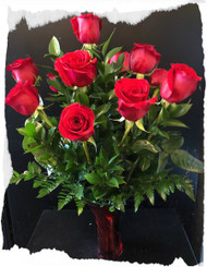 EARLY VALENTINES DAY - 1 Dozen Freedom 60 roses arranged in Red Metallic Vase! MUST ORDER FOR DELIVERY ON OR BEFORE February 10, 2018!