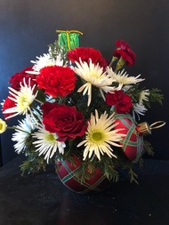 Festive Christmas keepsake ornament with lid - can be used as trinket storage after the flowers are gone.  Filled for you with Christmas red and white roses, carnations and poms