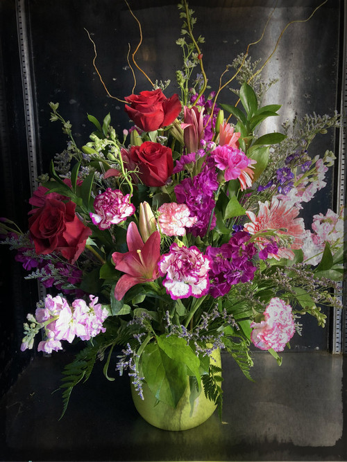 "Simply stunning - large floral disply for your centerpiece or sympathy selection.  Size approximately 30"" tall by 28"" wide Can be made as a spray or fully rounded ."