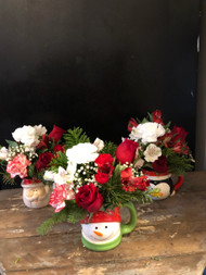At 12.99 each, you can send 1 or all 3.  Note your choice of mug - penguin, Santa or Snowman - in comments.  We fill this keepsake mug with roses, carnations, peruvian lilies and Christmas Greens.  Great way to decorate for the holidays on the cheap - or as a gift for the grandkids or student.