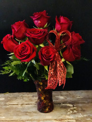Your Valentine will be charmed with 12 long stemmed roses arranged in this leaded mosaic keepsake vase.