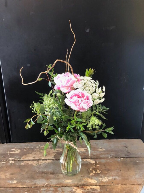 Everyone's favorite flower - the peony - prized for it's bloom and it's scent - paired with queen anne's lace and curly willow