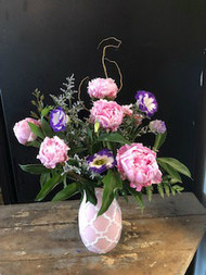 1/2 Dozen glorious Peonies, in pink and white designed vase, with a  pop of varigated double lisianthis and a little curly willow!