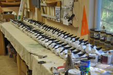 58 freshly painted Sandwich Tern Decoys.