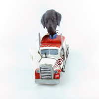 Doogies in Motion Truck Tractor - Lab Retriever Black