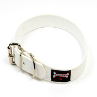 Smoochy Poochy Waterproof  Collar- White  (Leather Alternative Material)