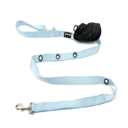 Smoochy Poochy  Nylon Hands-Free Leash  -Baby  Blue