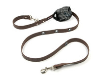 Smoochy Poochy Waterproof Hands-Free Leash - Brown  (Leather Alternative)