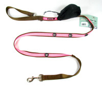 Smoochy Poochy 2Tone Hands-Free Leash - Brown Hot Pink
