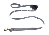 Smoochy Poochy  Waterproof Hands-Free Leash - Slate Leather Alternative