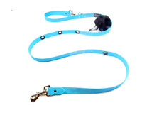 Smoochy Poochy  Waterproof Hands-Free Leash -Turquoise  Leather Alternative