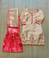 12 yrs also available- Tea pink hand work gharara