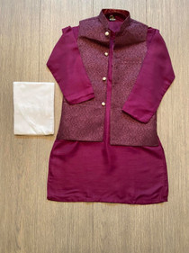Plum boys kurta shalwar with vest- size 12 yrs available