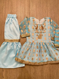 Sky blue organza hand work outfit