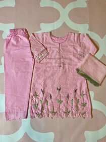 Pink chicken outfit with hand work