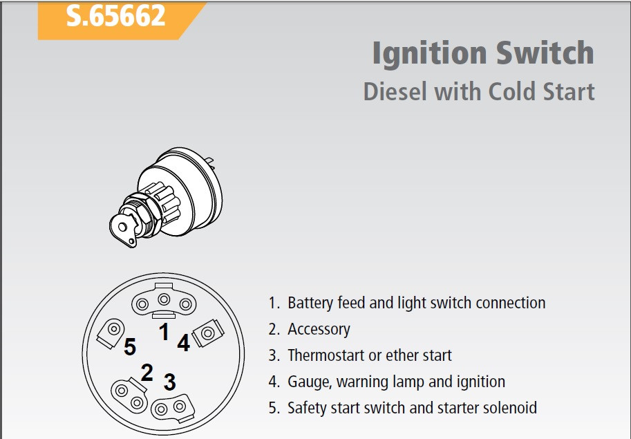 ignition key switch w heat for \u002765 up ford diesel tractor Keybiard in Key Switch Diagram larger more photos