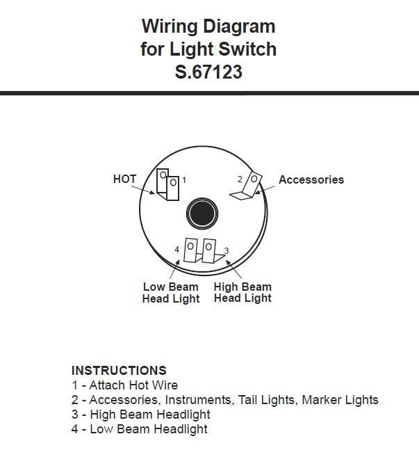ford tractor light switch, rotary type for 1965 up tractors