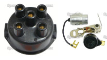 Ignition Tune-Up Kit & Distributor Cap for Massey-Ferguson Tractor w/ Delco Clip-Held Cap Distributor