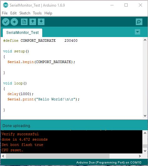 Arduino IDE Serial Monitor Test Program