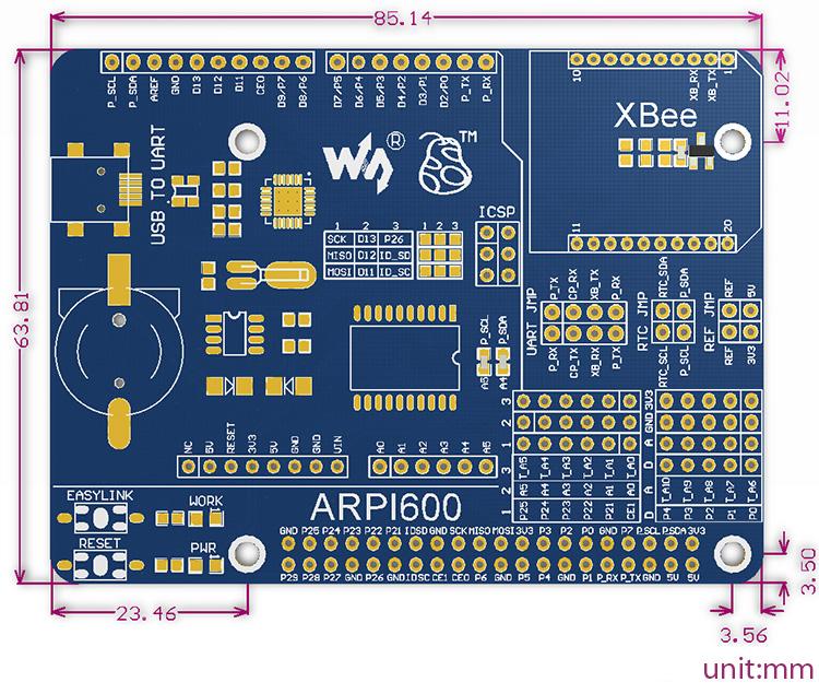 Adapter Board for Arduino & Raspberry Pi - Dimensions